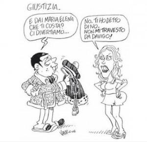 Vauro vignetta. Maria Elena Boschi a Renzi: Non mi travesto