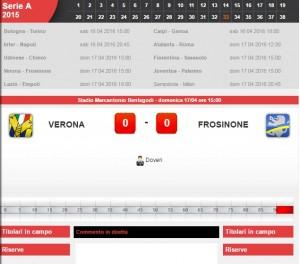 Guarda la versione ingrandita di Verona-Frosinone: diretta live serie A su Blitz. Formazioni