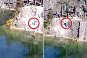 Salta con bungee jumping e sbatte sulla roccia 1111