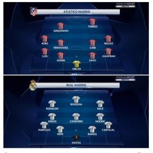 Guarda la versione ingrandita di Real-Atletico, formazioni ufficiali