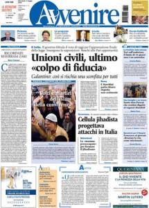 Guarda la versione ingrandita di Unioni civili, Renzi: le prime pagine dei giornali