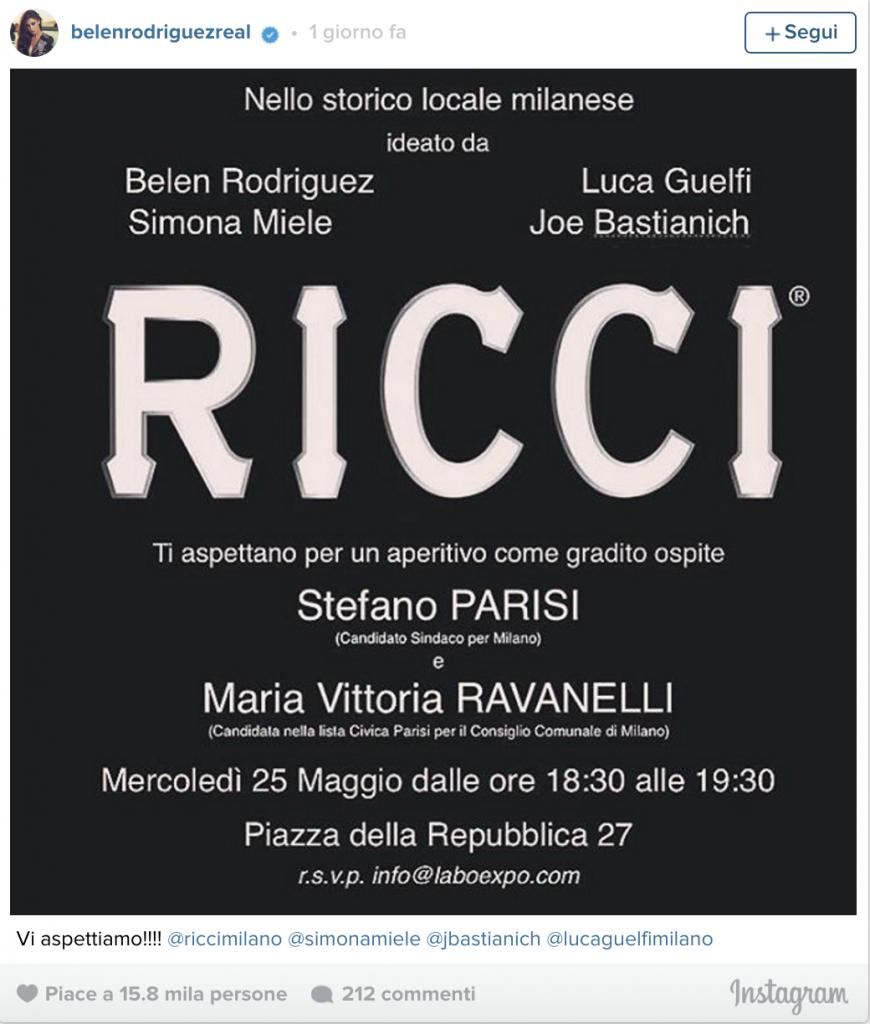 Belen Rodriguez con Stefano Parisi alle elezioni a Milano 2