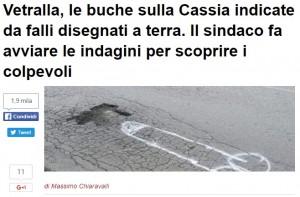 Viterbo: falli sulla Cassia con spray per denunciare buche