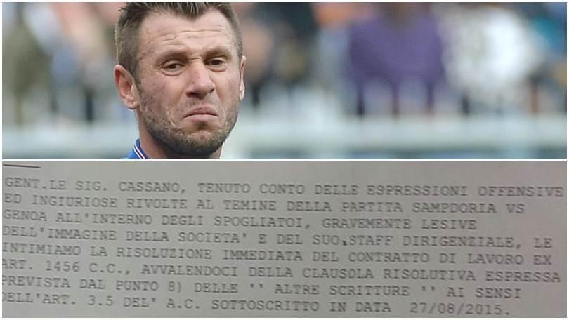 Antonio Cassano, ecco telegramma licenziamento Sampdoria