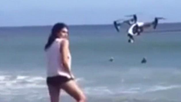 Modella in posa per foto e...viene colpita dal drone VIDEO