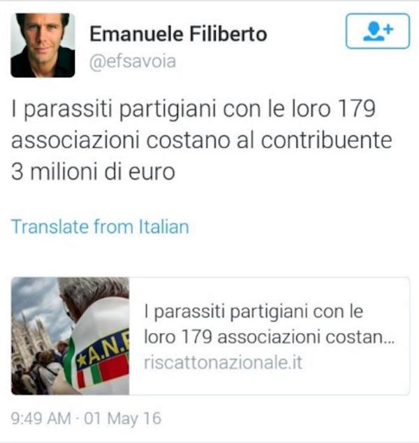 "Emanuele Filiberto, tweet choc: ""Partigiani parassiti"". Ma..05"