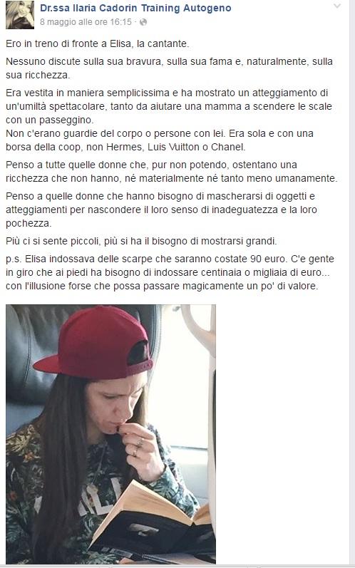"""""""Elisa con la borsa Coop e scarpe da 90 euro"""": post virale"""