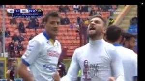 Guarda la versione ingrandita di Dionisi video gol Milan-Frosinone con dedica a Morosini