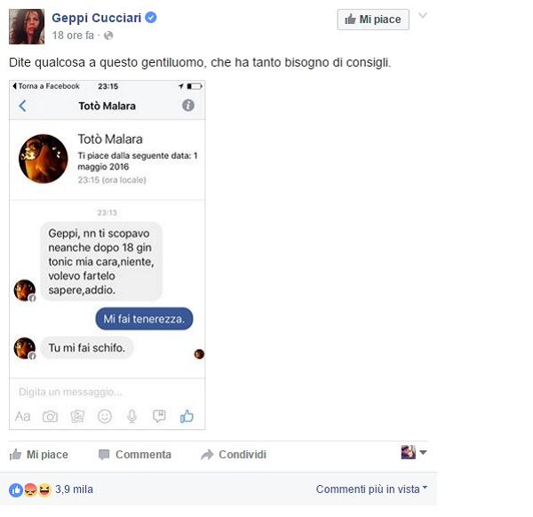 Geppi Cucciari insultata su Fb