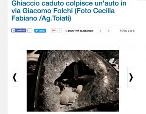 Roma, blocco di ghiaccio 20 kg dal cielo su auto. Blue ice?