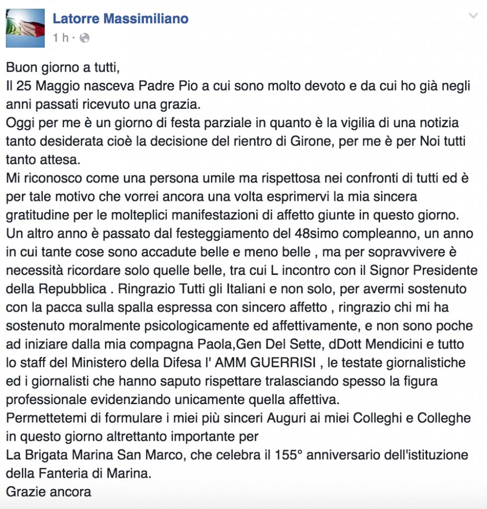 """Massimiliano Latorre compleanno: """"Aspetto rientro di Girone"""""""