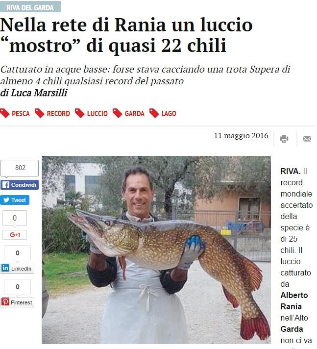 Lago di Garda: luccio record 22 kg, lungo un metro e mezzo