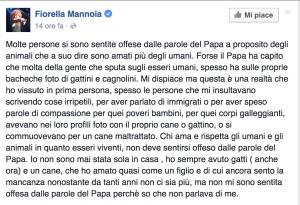 """Fiorella Mannoia: """"Sugli animali papa Francesco ha ragione"""""""