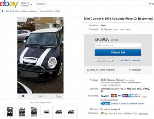 """""""Mini Cooper satanica"""": la vende su eBay a 99cent"""