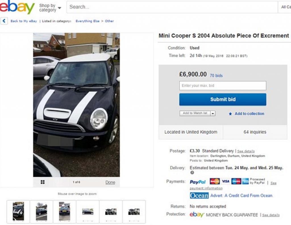 """""""Questa Mini Cooper è satanica"""": e la mette in vendita su eBay a 99 centesimi."""