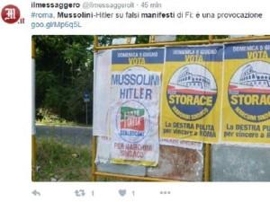"""""""Mussolini e Hitler per Marchini sindaco"""": manifesto a Roma"""