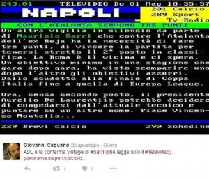 Napoli smentisce notizia Televideo. E i tifosi ironizzano