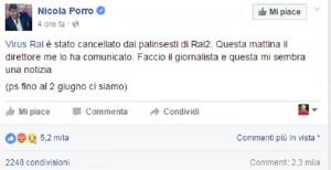 Virus via da Rai2. Nicola Porro paga puntata sui vaccini