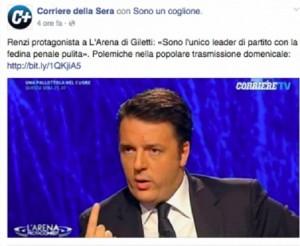 Guarda la versione ingrandita di Renzi, epic fail Corriere della Sera: foto e tag