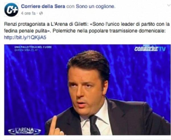 """Renzi, epic fail Corriere della Sera: foto e tag """"cogl..."""""""