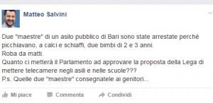 """Bari, maestre arrestate. Salvini su Fb: """"Datele ai genitori"""""""