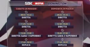 Superbike, round Donington: gli orari in tv