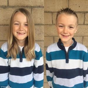 Guarda la versione ingrandita di Vinny, 7 anni: capelli lunghi per i malati cancro, ne ha uno
