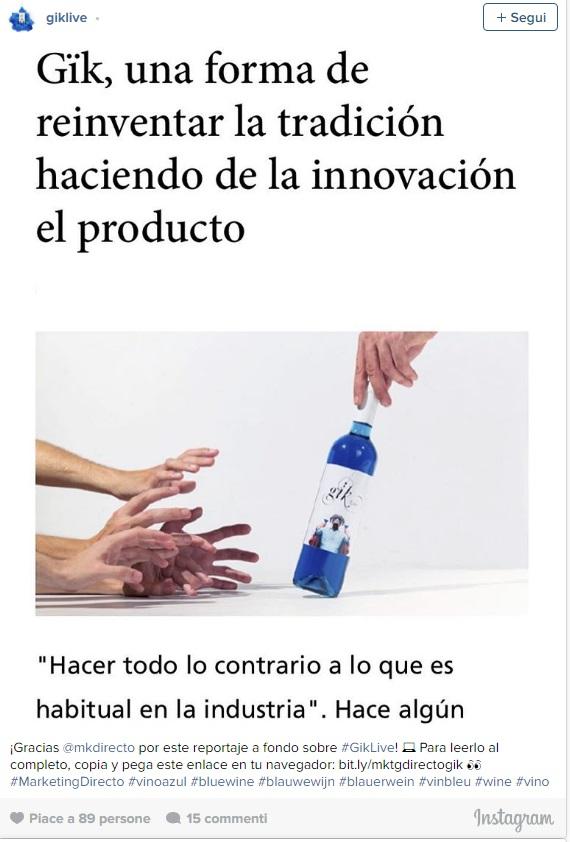 Vino blu, l'invenzione dell'azienda spagnola Gik
