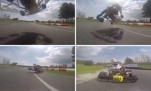 Go-kart sorpassa volando con auto sopra avversario4