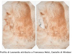 Guarda la versione ingrandita di Leonardo, è proprio lui! Il suo profilo nel Codice Atlantico