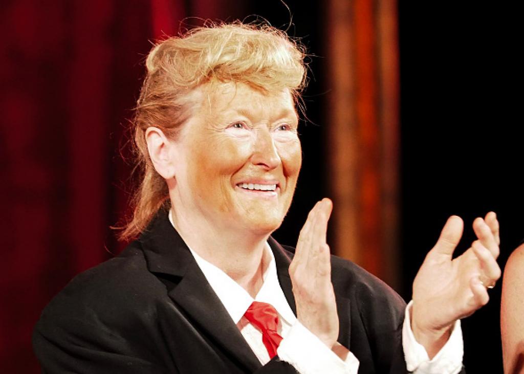 Meryl Streep imita Trump: pancione e cravatta rossa 2