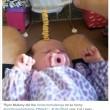 Torre di Cherrios sul neonato che dorme1