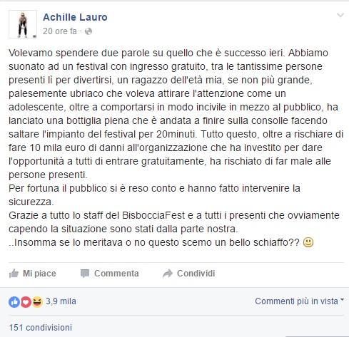 VIDEO YOUTUBE Rapper Achille Lauro picchia fan a concerto 4