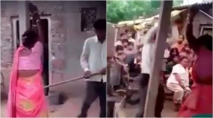 Guarda la versione ingrandita di YOUTUBE India, marito cornuto prende a bastonate moglie e amante