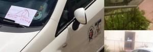 Spoleto, auto comune blocca passo disabili. Bimbo disegna... FOTO