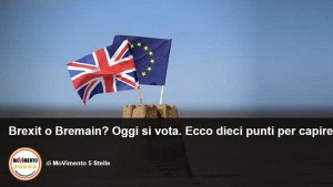 Brexit, Movimento 5 stelle cambia idea e modifica il post sul referendum