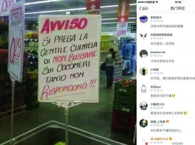 """""""Non bussare sui cocomeri"""". FOTO cartello italiano virale in Cina"""