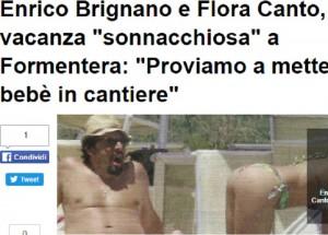 Guarda la versione ingrandita di Flora Canto gattona in bikini, e Enrico Brignano... (foto da Il Messaggero.it)