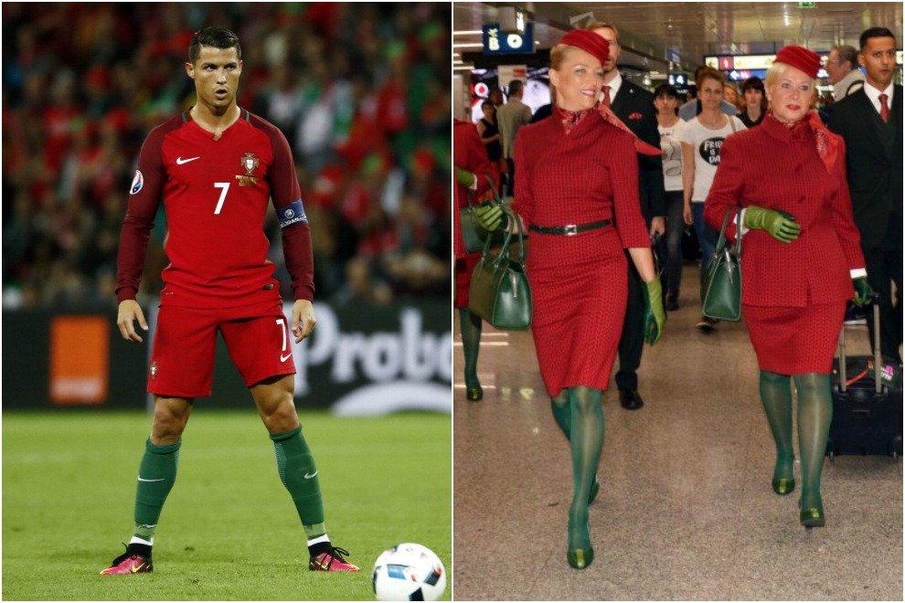 Ciristiano Ronaldo come hostess Alitalia: completo rosso e calze verdi