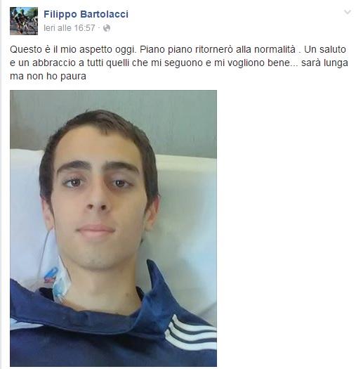 """Filippo Bartolacci si sveglia da coma: """"So che sarà dura, ma non ho paura"""" 02"""