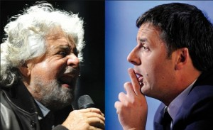 Beppe Grillo e Matteo Renzi
