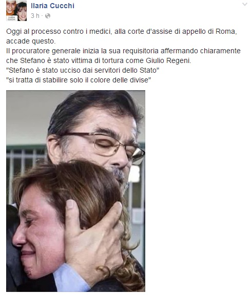 "Ilaria Cucchi su Facebook: ""Stefano ucciso da quali divise?"" 01"