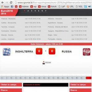 Inghilterra-Russia, diretta live Sportal Euro 2016 su Blitz