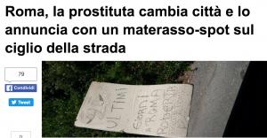 """Lucciola in saldo, pubblicità su materasso: """"Cambio città, ultime offerte"""""""