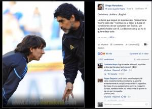 Guarda la versione ingrandita di Maradona a Messi: non lasciare l'Argentina, in Russia sarai campione del mondo