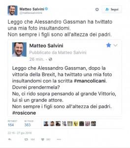 """Guarda la versione ingrandita di Alessandro Gassman prende in giro Matteo Salvini? Lui: """"Rosicone, non sei…"""""""