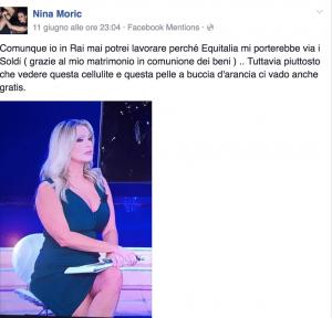 """Nina Moric, foto su Facebook contro Paola Ferrari: """"Che cellulite"""""""