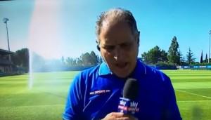 "YOUTUBE Europei, Marco Nosotti ""innaffiato"" in diretta tv"
