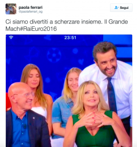 "Paola Ferrari, gaffe su Twitter: ""Il Grande Mach #RaiEuro2016"""