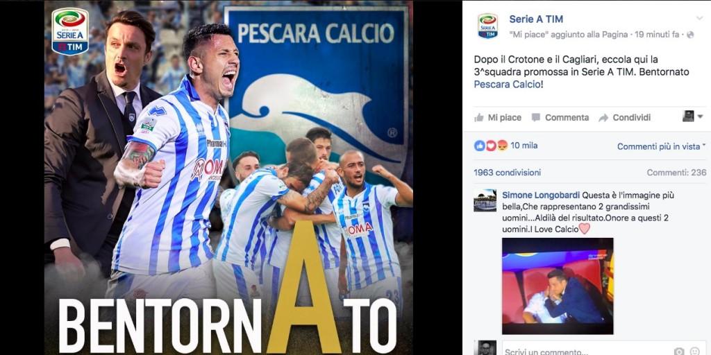 Pescara in Serie A: Massimo Oddo e Gianluca Lapadula in trionfo